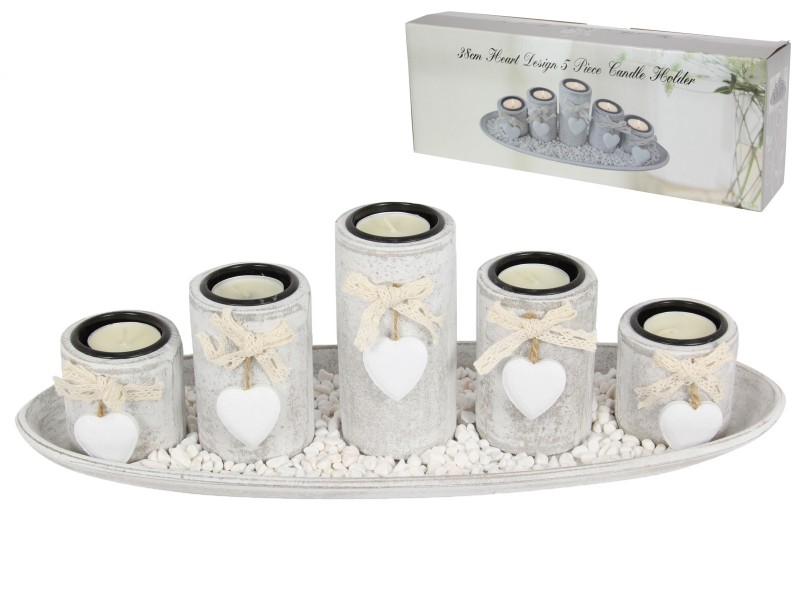 38CM HEART DESIGN 5 PIECE CANDLE HOLDER (GIFT BOX)