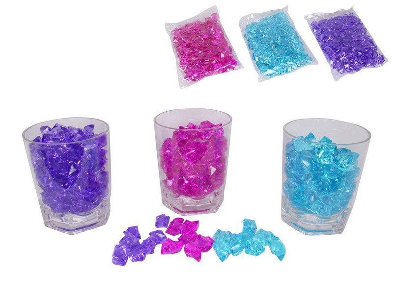 250 GRAMS ACRYLIC FAKE ICE CUBE 3 ASSTD COLOURS