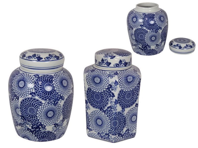 20/22CM BLUE WILLOW FLORAL GINGER JAR 2 ASSTD