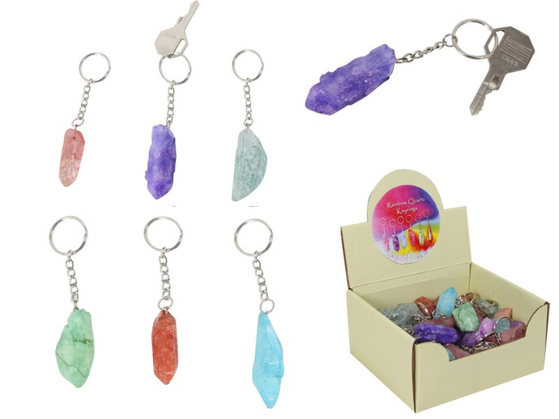 (G/BOX) RAINBOW QUARTZ KEY RING 6 ASSTD