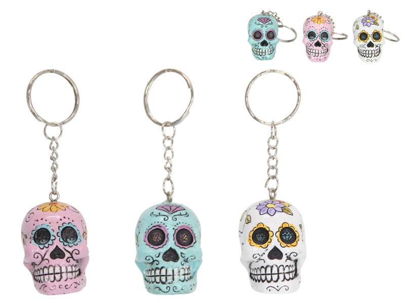 CANDY SKULL KEY RING 3 ASSTD