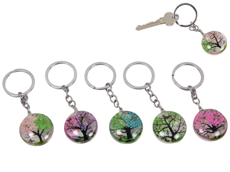 3CM DOUBLE SIDED TREE GLASS KEYRING 6 ASSTD
