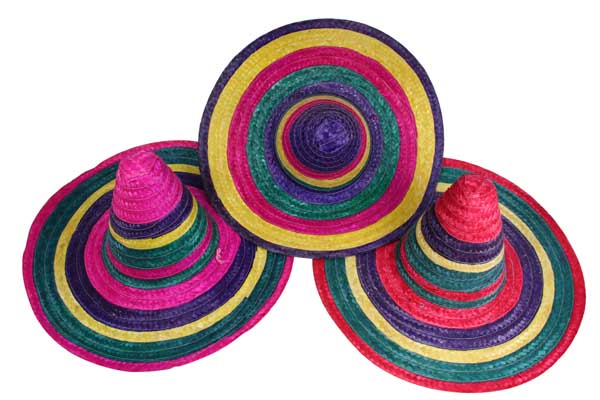 49CM MULTI-COLOURED MEXICAN  SOMBRERO PARTY HAT 3 ASSTD