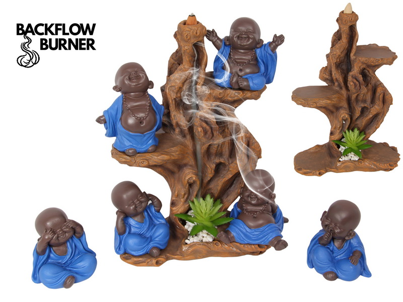 (G/BOX) 10CM MONK WITH BLUE ROBE 6 ASSTD (24=FREE TREE DISPLAY WITH BACKFLOW INCENSE BURNER)