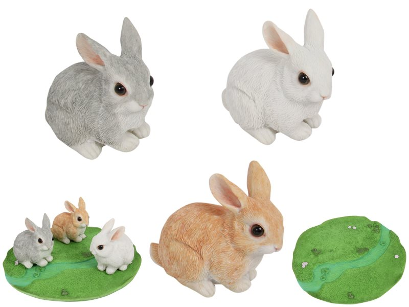 (G/BOX) 10CM CUTE RABBITS 3 ASSTD WITH DISPLAY (36=FREE DISPLAY)