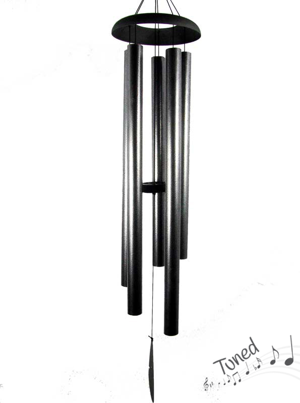 130CM 5 TUBE SILVER HARMONIOUS TUNED WIND CHIME