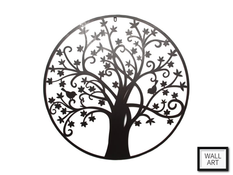 80CM ROUND METAL TREE OF LIFE WALL ART