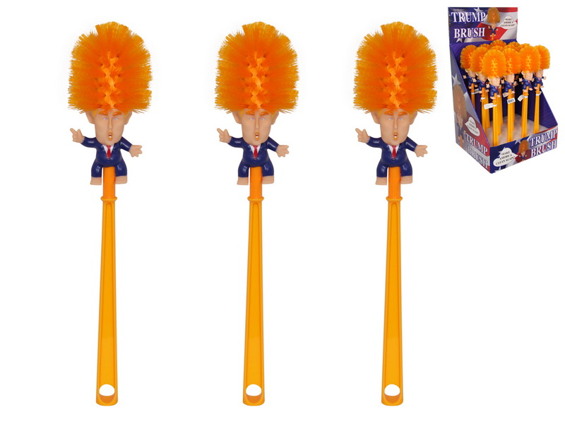 "38CM DONALD TRUMP TOILET BRUSH IN DISPLAY ""Lets clean America up again!"""
