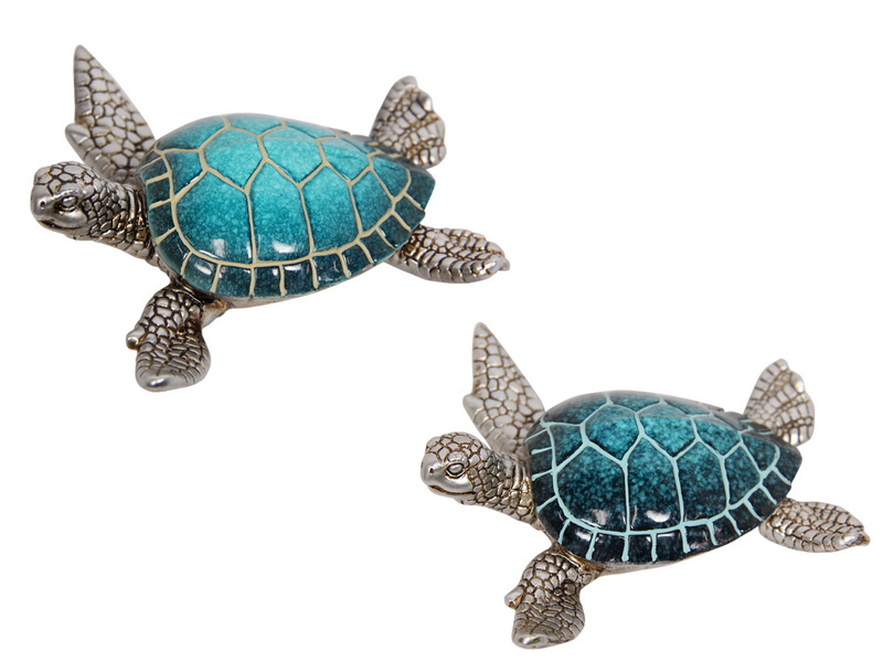 12.5CM BLUE TURTLE WITH SILVER BODY 2 ASSTD
