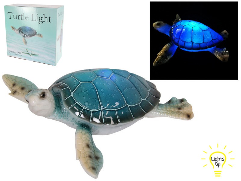 27CM BLUE TURTLE WITH LIGHT