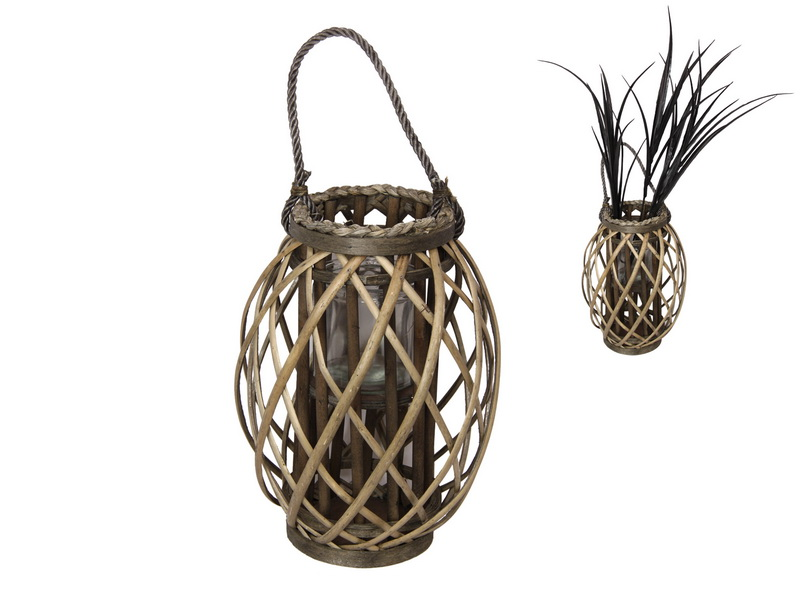32CM NATURAL WICKER PLANT HOLDER WITH GLASS HOLDER