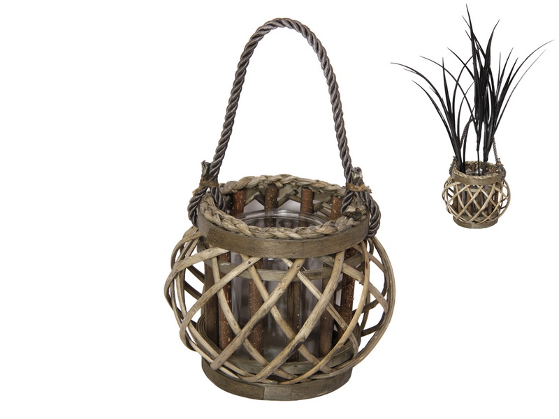16CM NATURAL WICKER PLANT HOLDER WITH GLASS HOLDER