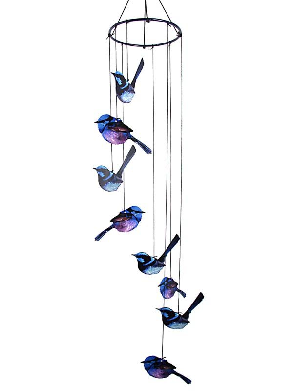 8-PC METAL BLUE WREN WIND CHIME