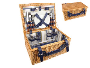 42CM PICNIC BASKET FOR 4 (INCLUDES CROCKERY)